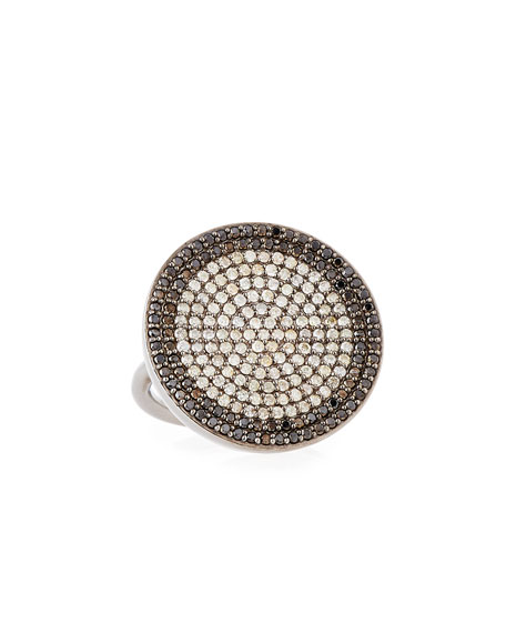 Diamond Pavé Circle Ring with Champagne and Black Diamonds, Size 7.5