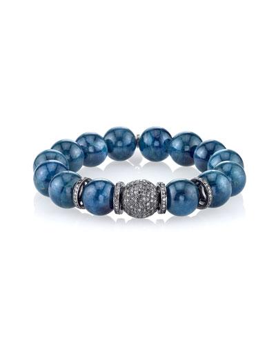 12mm Apatite Beaded Bracelet with Diamond Ball Bead & Rondelles