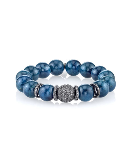 12mm Apatite Beaded Bracelet with Diamond Ball Bead & Rondelles