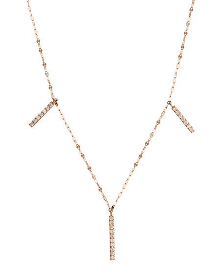 Flawless Vol. 6 Triple Diamond Bar Necklace in 14K Rose Gold