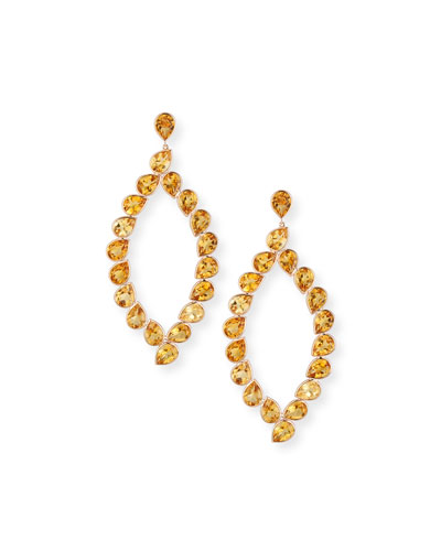 Citrine Marquis Drop Earrings in 18K Rose Gold