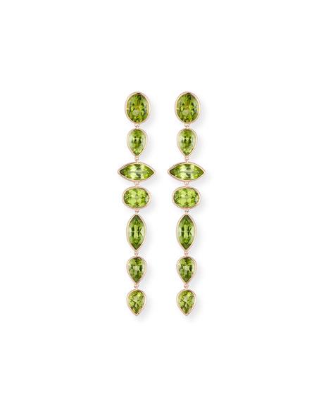 Mixed-Cut Peridot Drop Earrings in 18K Rose Gold