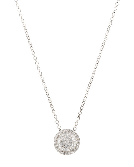 Small Diamond Pizza Necklace in 18K White Gold