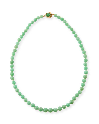 Graduated Green Jadeite Beaded Necklace