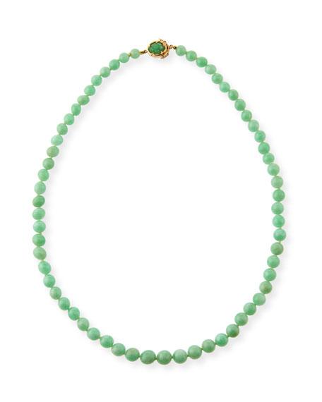 Graduated Green Jadeite Beaded Necklace