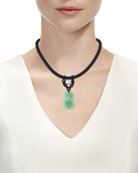 Leather Cord Necklace with Carved Jadeite