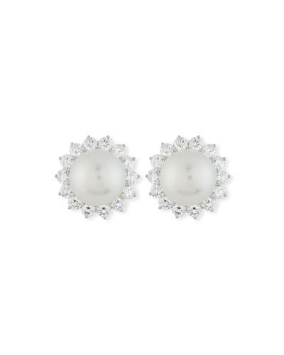 South Sea Pearl & Diamond Halo Earrings