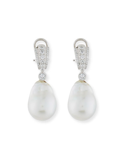 Pave Diamond & South Sea Baroque Pearl Drop Earrings