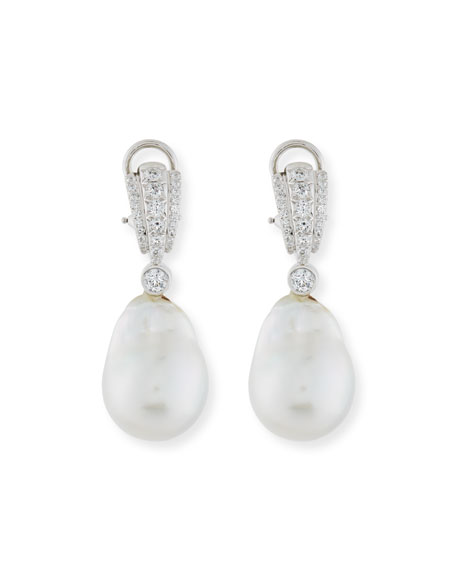 Assael Pavé Diamond & South Sea Pearl Drop Earrings hR2uyhE