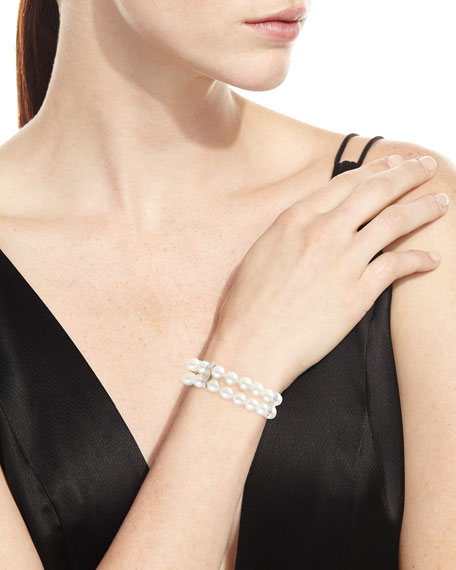 Two-Row Pearl Bracelet with Diamond Stations