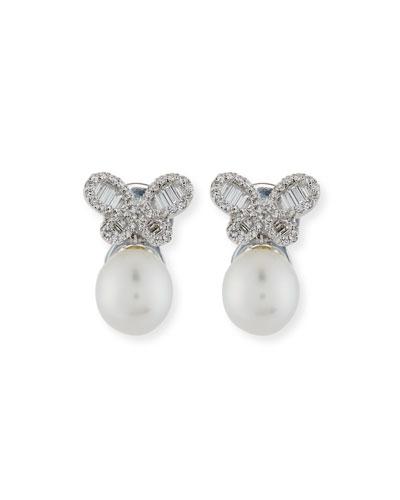 Diamond Butterfly & South Sea Pearl Earrings
