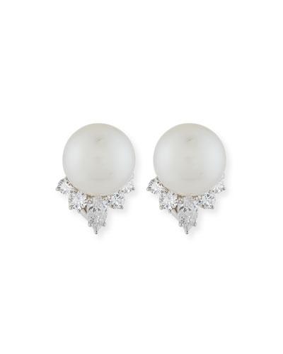 Pearl & Pear-Shaped Diamond Earrings in Platinum