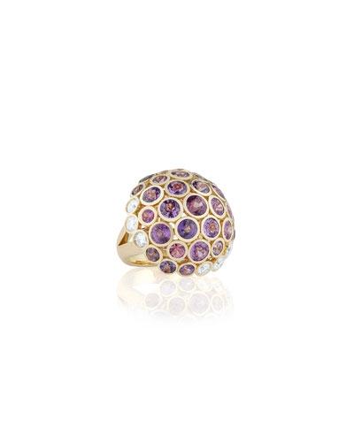 Disco Dots Sapphire & Diamond Mushroom Ring