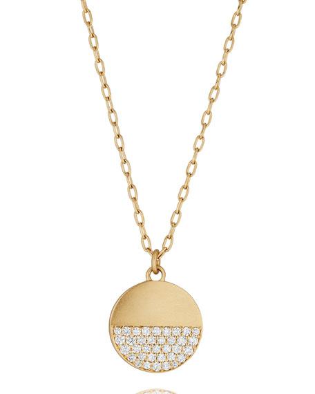 Disco Dots Pavé Diamond Pendant Necklace in 18K Gold