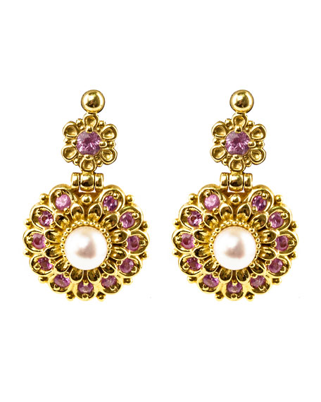 18k Yellow Gold Sapphire & Pearl Earrings