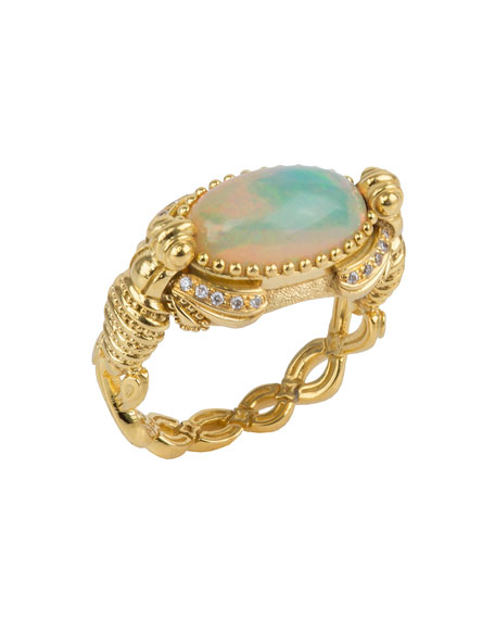 18k Yellow Gold Opal Ring w/ Diamonds