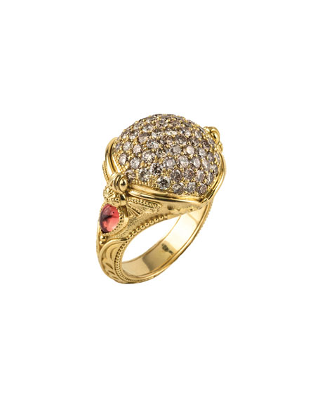 Konstantino 18k Yellow Gold Honeycomb Ring w/ Diamonds gaT07k