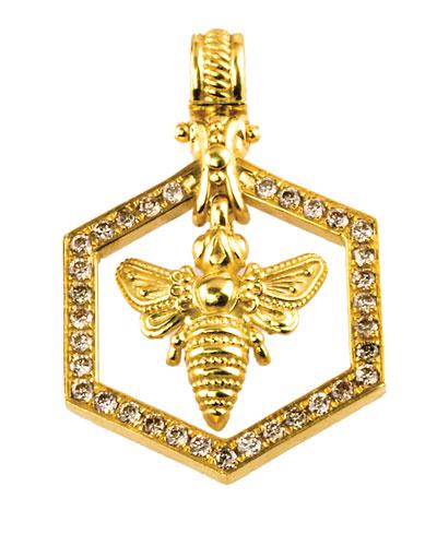 18k Yellow Gold Bee Pendant w/ Diamonds
