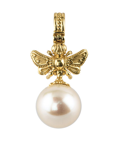 18k Yellow Gold Bee & Pearl Pendant