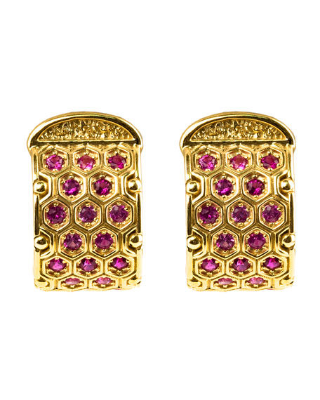 18k Yellow Gold Pink Sapphire Earrings