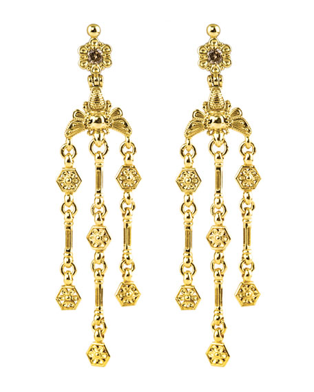 Konstantino 18k Yellow Gold Brown Diamond Bee Dangle Earrings WWgD2tb6q