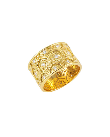 18k Yellow Gold Honeycomb Ring w/ Diamonds, Size 7