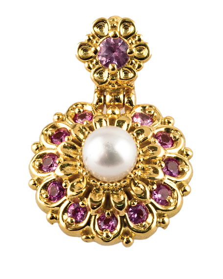 18k Yellow Gold Pearl & Sapphire Pendant