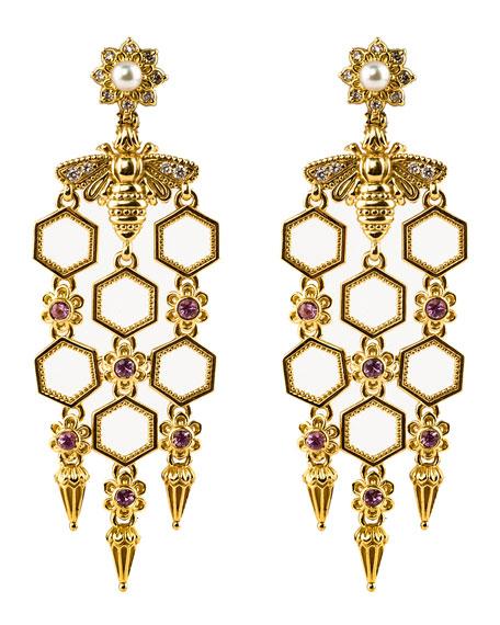 18k Yellow Gold Honeycomb & Bee Dangle Earrings
