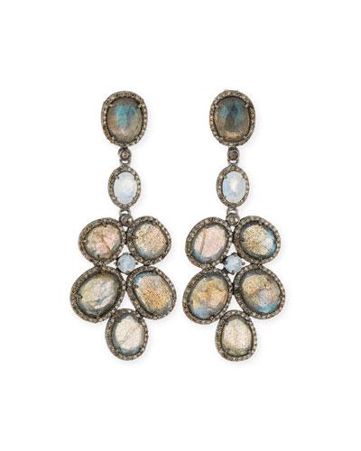Labradorite & Diamond Chandelier Earrings