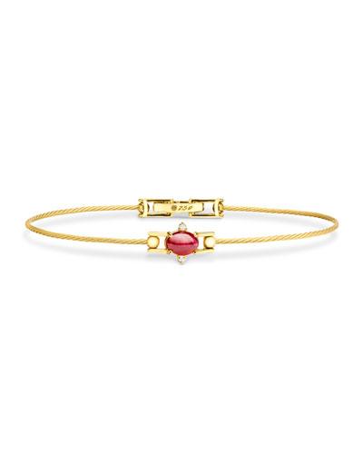 Ruby Cabochon & Diamond Wire Bracelet in 18K Gold