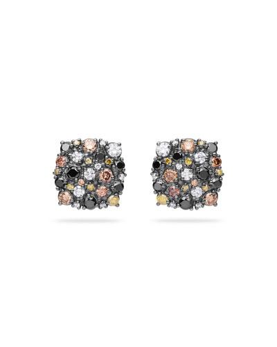 Confetti Cushion Stud Earrings with Cognac & White Diamonds