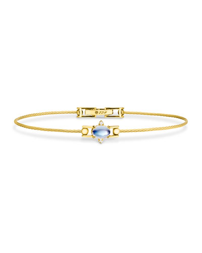 Moonstone Cabochon & Diamond Wire Bracelet in 18K Gold
