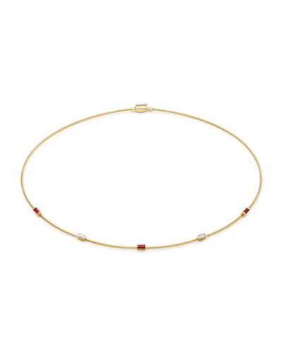 Single Wire Ruby & Diamond Necklace