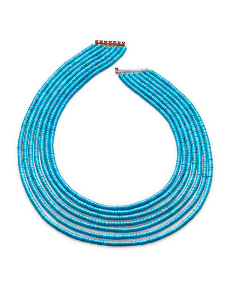 Seven-Strand Heishi Turquoise Necklace