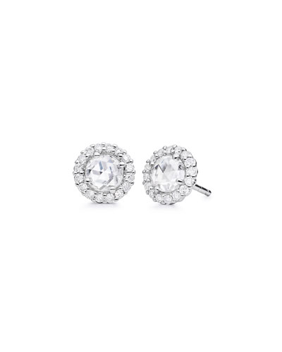 Rose-Cut Diamond Stud Earrings in 18K White Gold