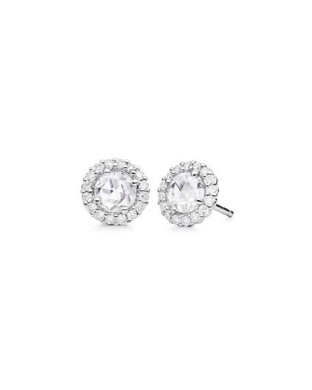 Rose-Cut Diamond Stud Earrings in 18K White Gold