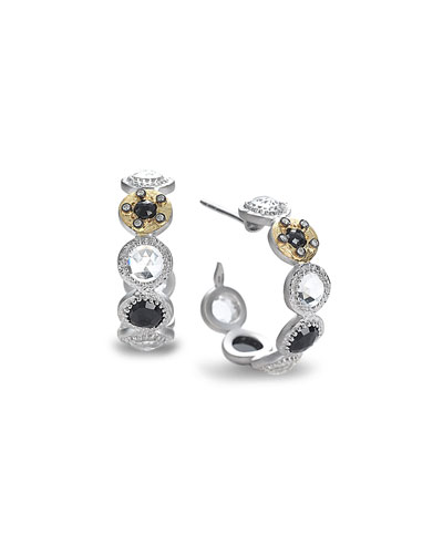 Opera Hoop Earrings with Black Spinel & Diamonds