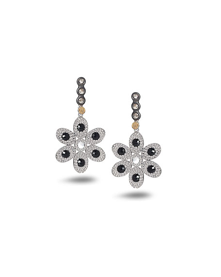 Opera Flower Earrings with Black Spinel & Diamonds