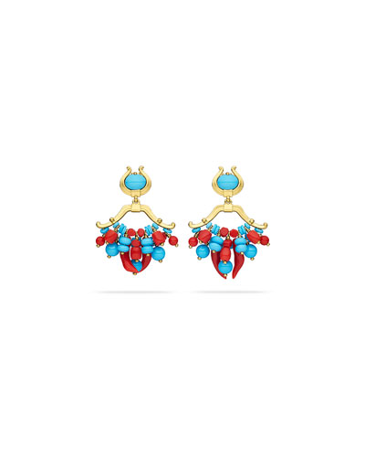 Turquoise & Coral Double-Dangle Earrings