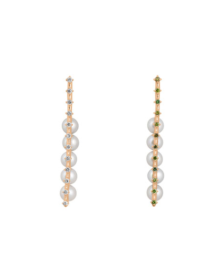 Mismatched Pearl Earrings with White & Green Diamonds