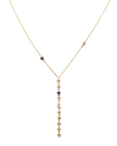 Stevie Wren Diamond Triangle & Pearl Lariat Necklace