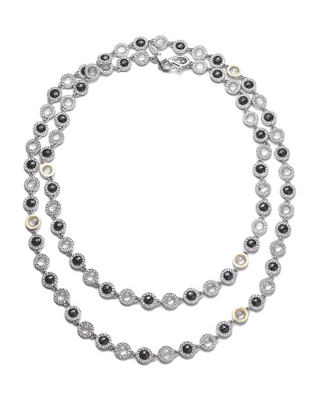 Opera Sterling Silver Necklace with Black Spinel & Diamonds, 36""