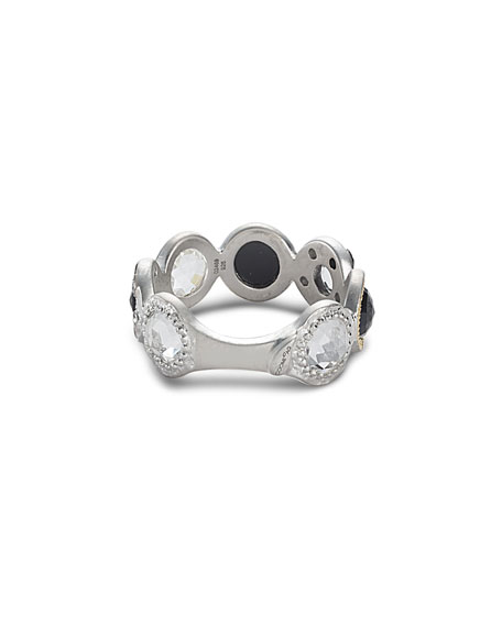 Opera Black Spinel Ring with Diamonds, Size 7