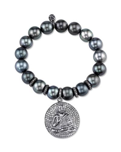 Tahitian Pearl Beaded Bracelet with Diamond Buddha Medallion Charm