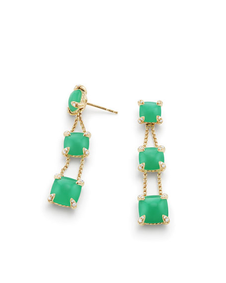 Châtelaine Chain Drop Earrings with Chrysoprase & Diamonds