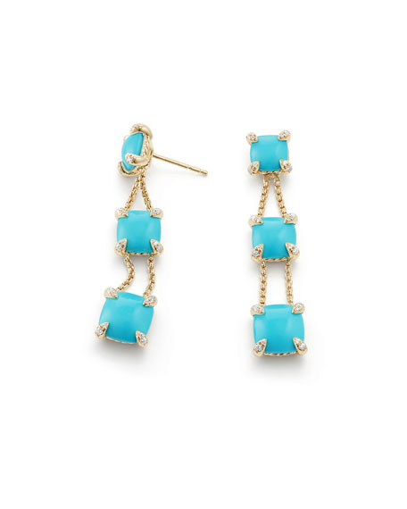 Châtelaine Chain Drop Earrings with Turquoise & Diamonds
