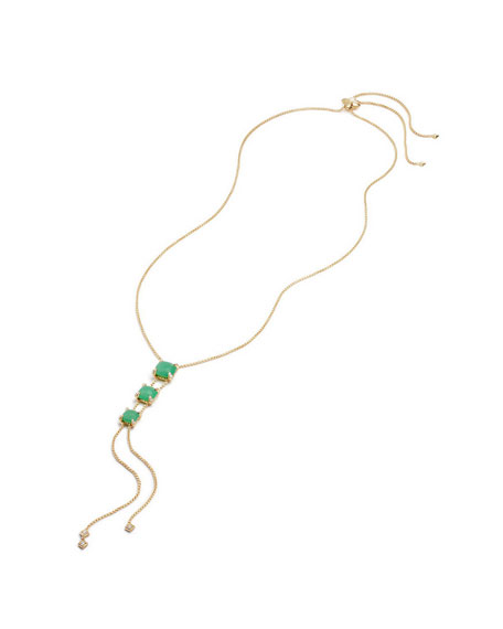 Châtelaine Linear Lariat Necklace with Chrysoprase & Diamonds