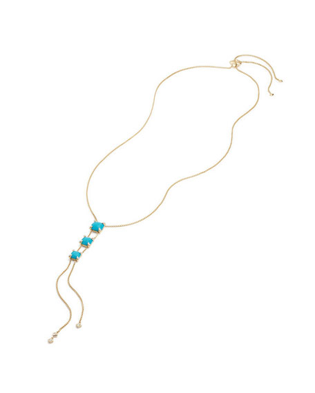 Châtelaine Linear Lariat Necklace with Turquoise & Diamonds