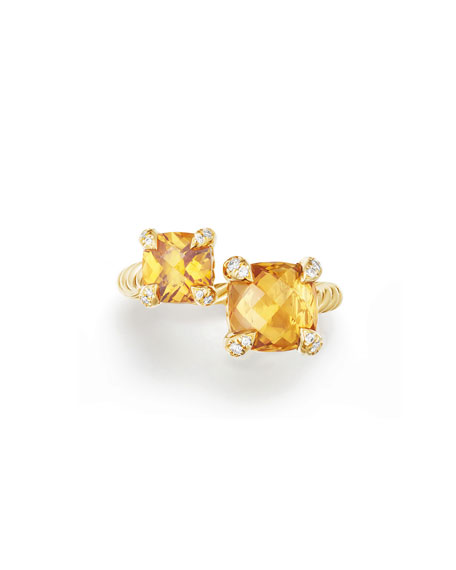 Châtelaine Bypass Ring with Citrine & Diamonds, Size 6