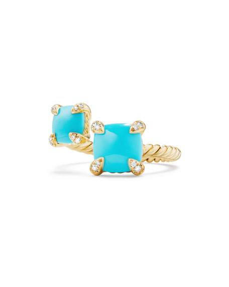 Châtelaine 18K Gold Bypass Ring with Turquoise & Diamonds, Size 6